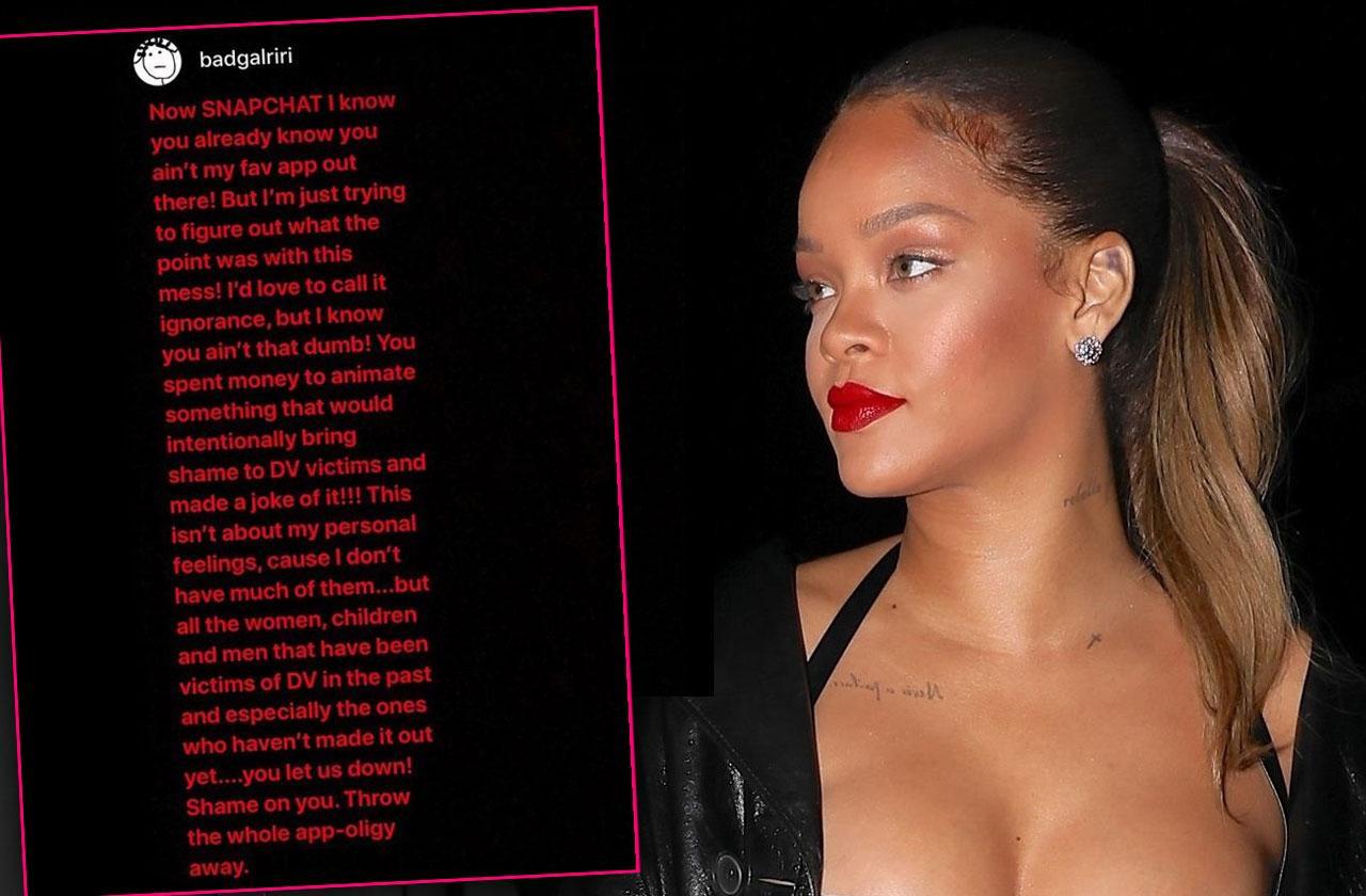 //Rihanna Slams Snapchat Domestic Violence Ad pp
