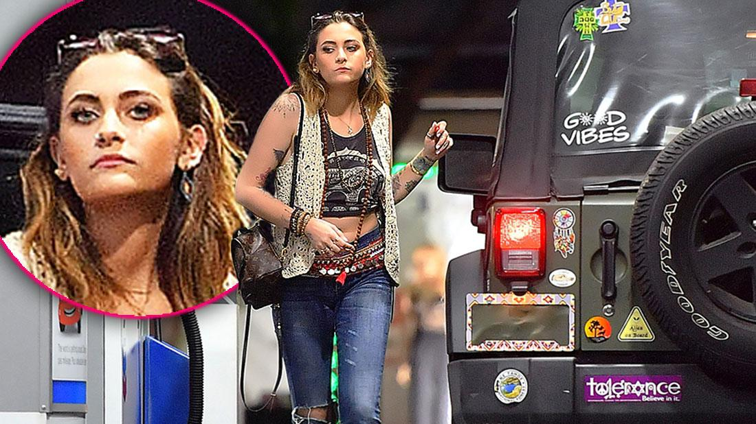 Inset of Paris Jackson, Paris Jackson Wearing Macramé Vest With Crop Tank And Ripped Jeans During A Late Night Gas Fill Up In Hollywood, CA.