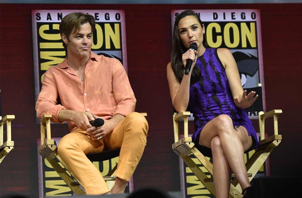 //gal gadot and chris pine dazzle at comic con