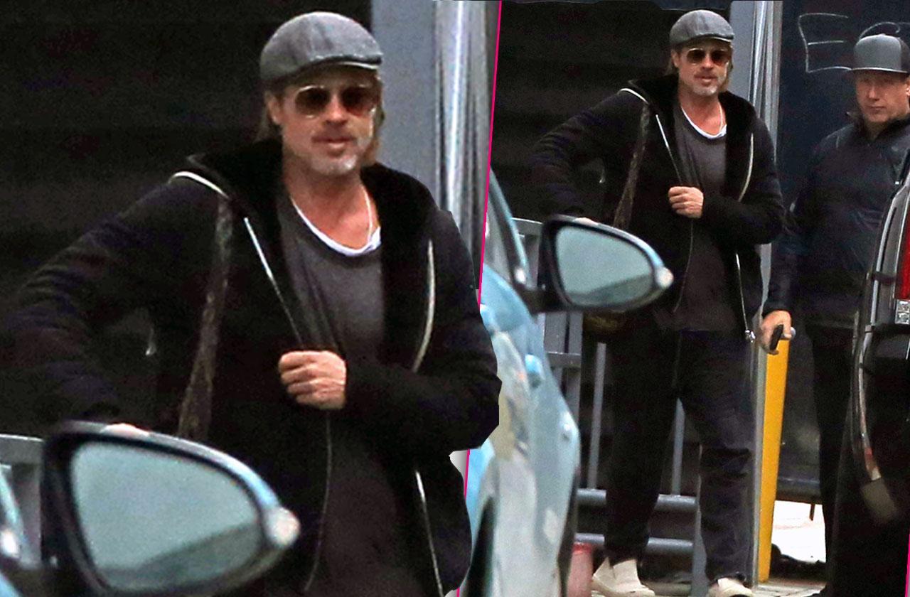 Brad Pitt Smiling After Jennifer Aniston Birthday Party