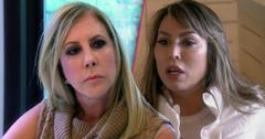 Angry looking Vicki Gunvalson , Suprised Kelly Dodd Real Housevives of Orange County RHOC