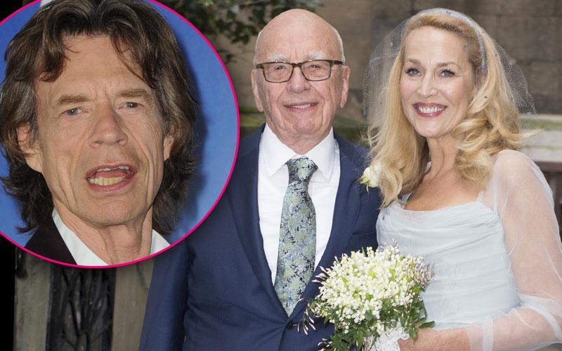 Rupert Murdoch & Jerry Hall Wedding Photos -- Mick Jagger Unhappy