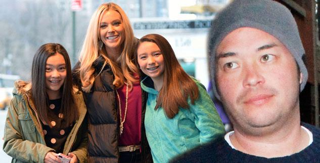 Kate Gosselin and her twin daughters jon gosselin