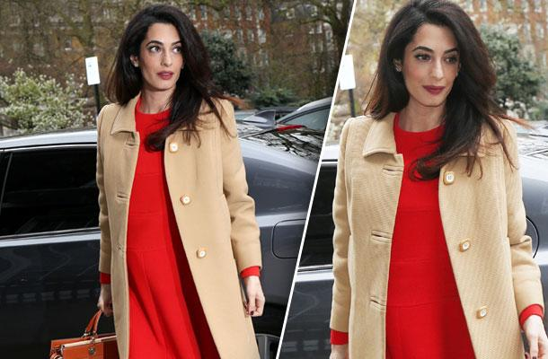 //amal clooney pregnant baby bump red dress photos pp