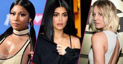 Nicki Minaj, Kylie Jenner, Kaley Cuoco (L-R); rapper Nicki Minaj holds her award for best hip-hop video in the press room at the 2018 MTV Video Music Awards; Kylie Jenner on April 30, 2017 in New York City; Kaley Cuoco attends The 58th GRAMMY Awards at Staples Center