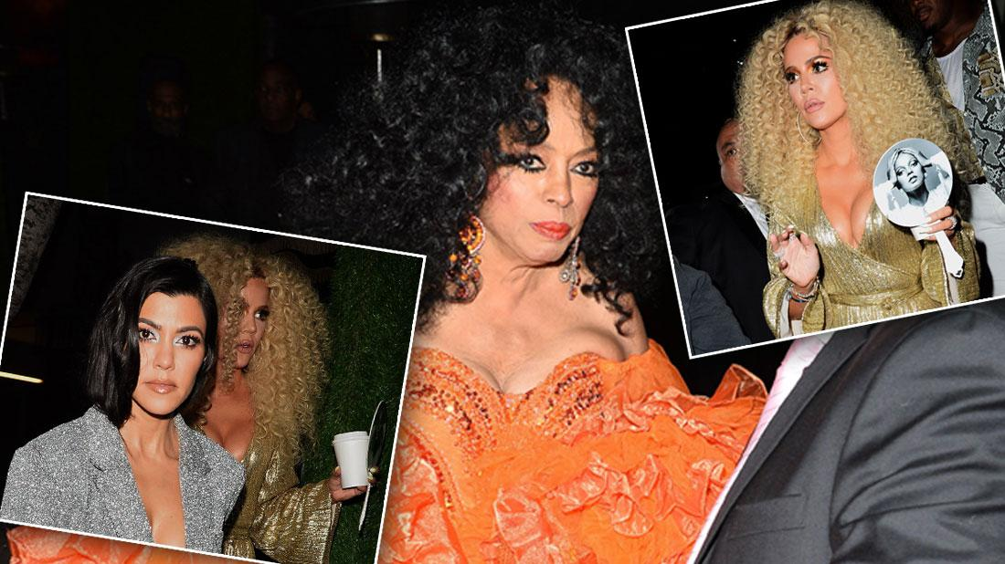 Khloe Kardashian Rocks Big Hair At Diana Ross' Birthday Party