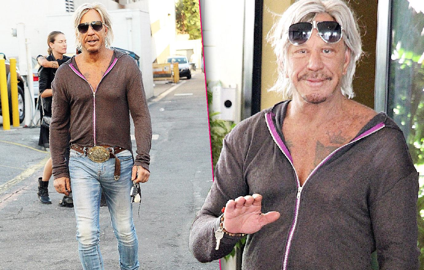 Unrecognizable Mickey Rourke Shows Manhood And Midriff