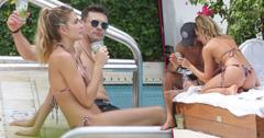 Ryan Seacrest Shirtless Shayna Taylor Bikini Pool Miami