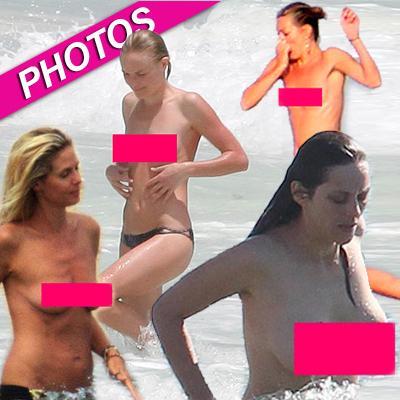 //topless bikini celebs post