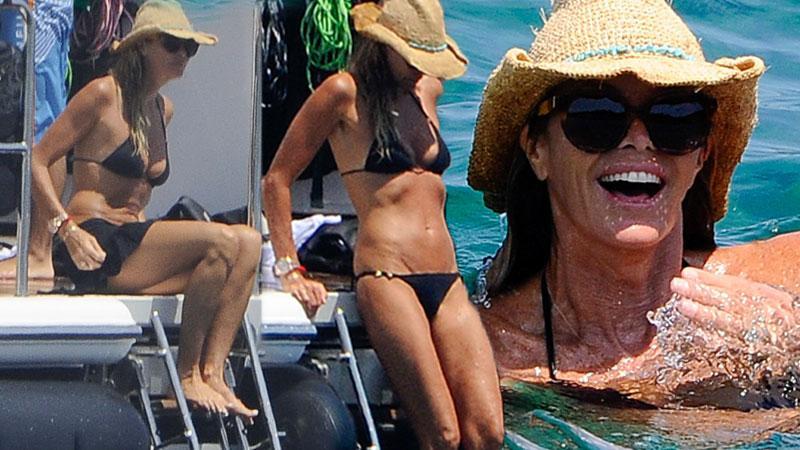 Elle Macpherson In A Bikini Going For A Swim In Italy