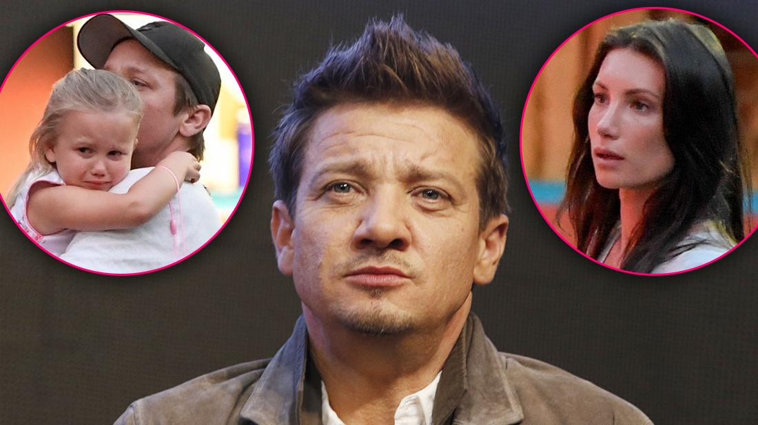 Jeremy Renner Closeup Looking Upset with Insets of His Daughter Ava and Ex-Wife Sonni Looking Upset