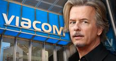 David Spade Looks Worried In Front of Viacom Building Logo Sign Facade