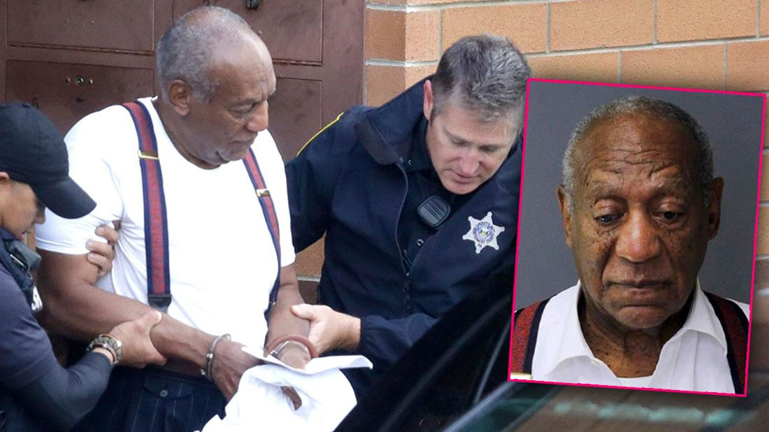 Bill Cosby Is Escorted Out Of The Montgomery County Correctional Facility In Eagleville, Pa., Inset Bill Cosby Mugshot