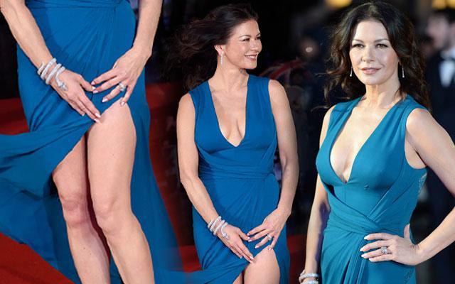 Catherine Zeta-Jones Wardrobe Malfunction Dress Slit
