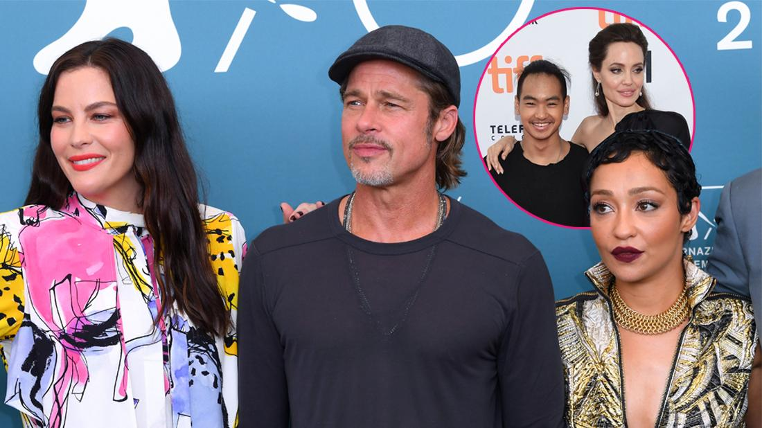 """Main, Liv Tyler, Brad Pitt and Ruth Negga 'Ad Astra' photocall. Inset, Maddox Jolie-Pitt, left, and Angelina Jolie attend a premiere for """"First They Killed My Father"""" on day 5 of the Toronto International Film Festival at the Princess of Wales Theatre, in Toronto."""