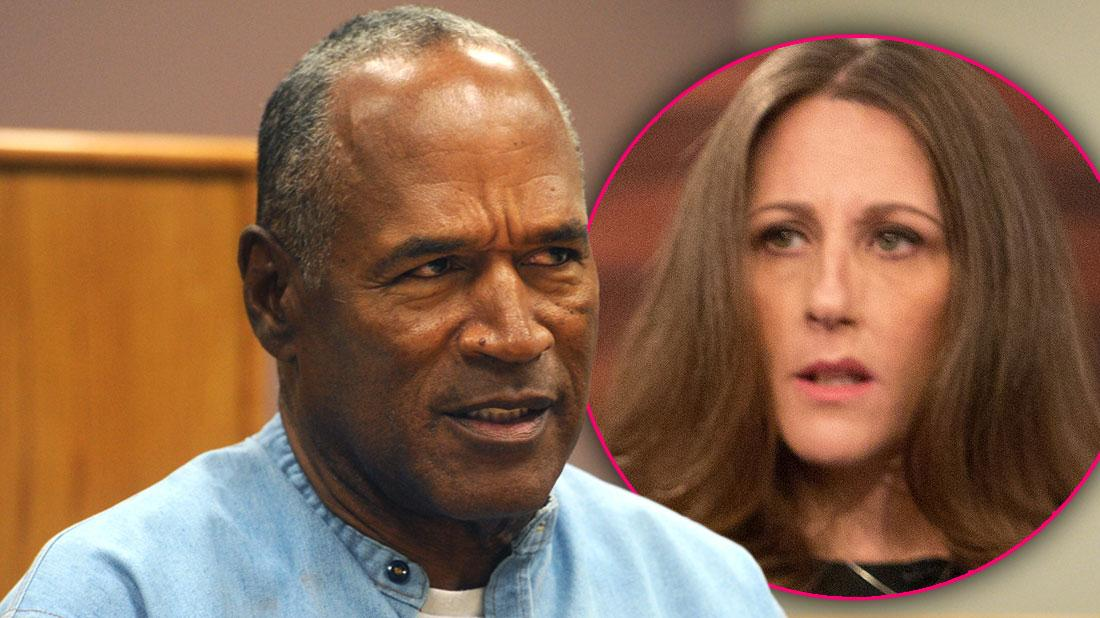 OJ Simpson Looking Angry with Inset of Ron Goldman's Sister Kim Goldman Looking at OJ