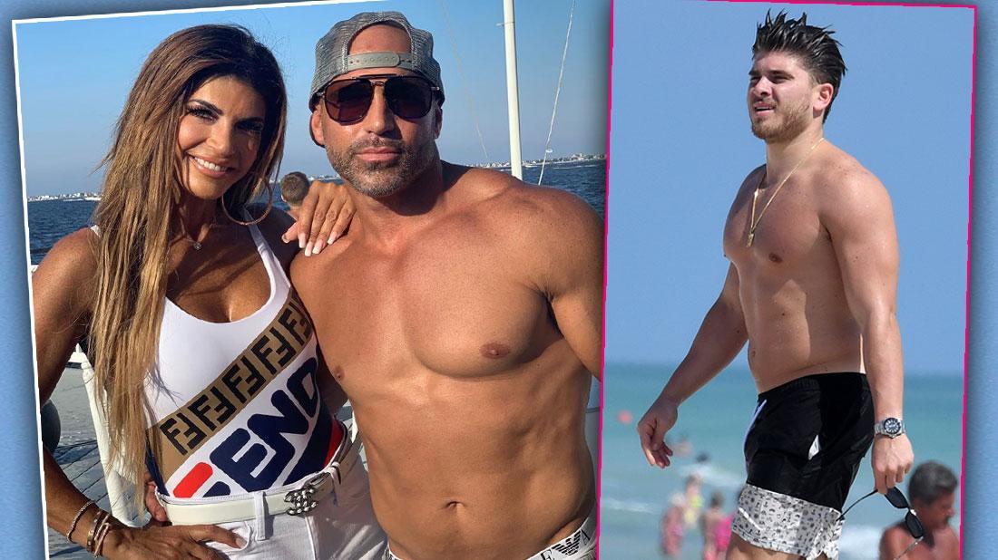 Teresa Giudice and Brother Joe Gorga at Beach Inset of Blake Schreck