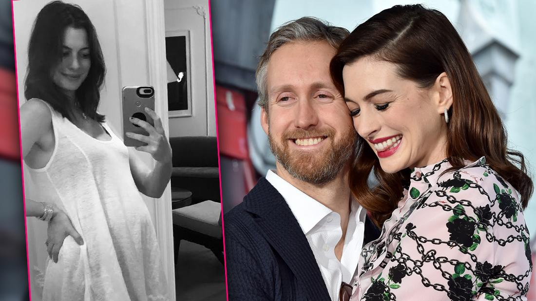 Anne Hathaway Pregnant Inset of Anne Hathaway with Husband Adam Shulman