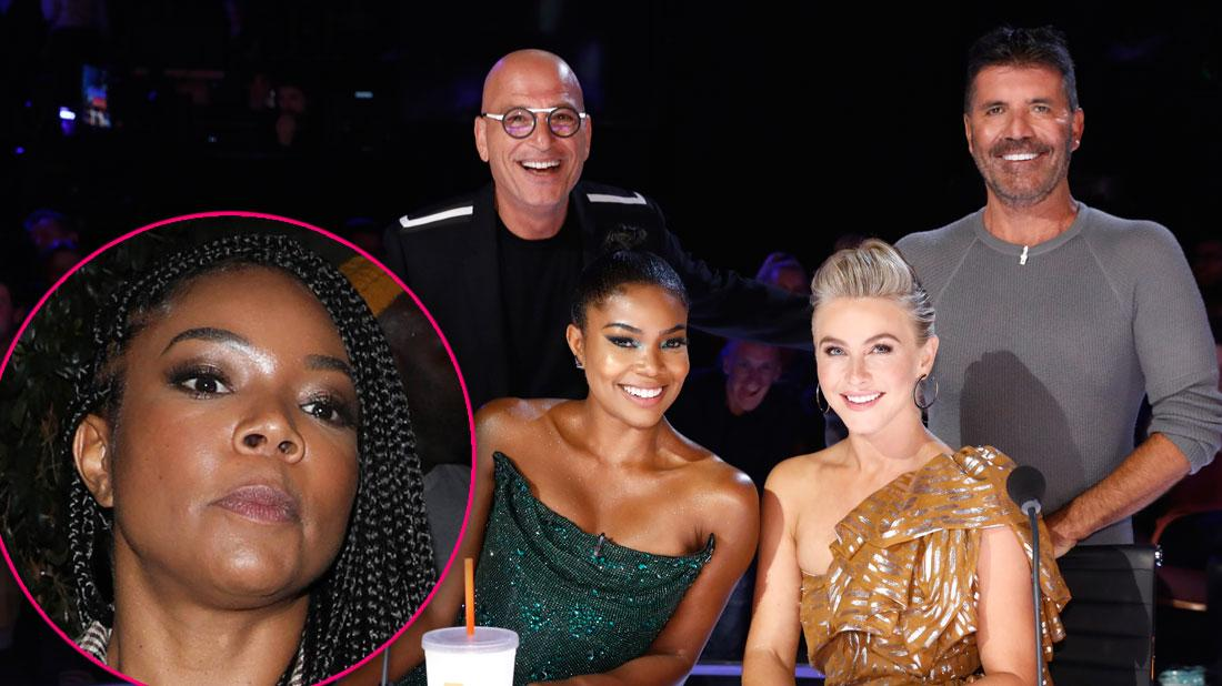 Inset Angry Gabrille Union, Judges of NBC's America's Got Talent: Howie Mandel, Gabrielle Union, Julianne Hough, Simon Cowell