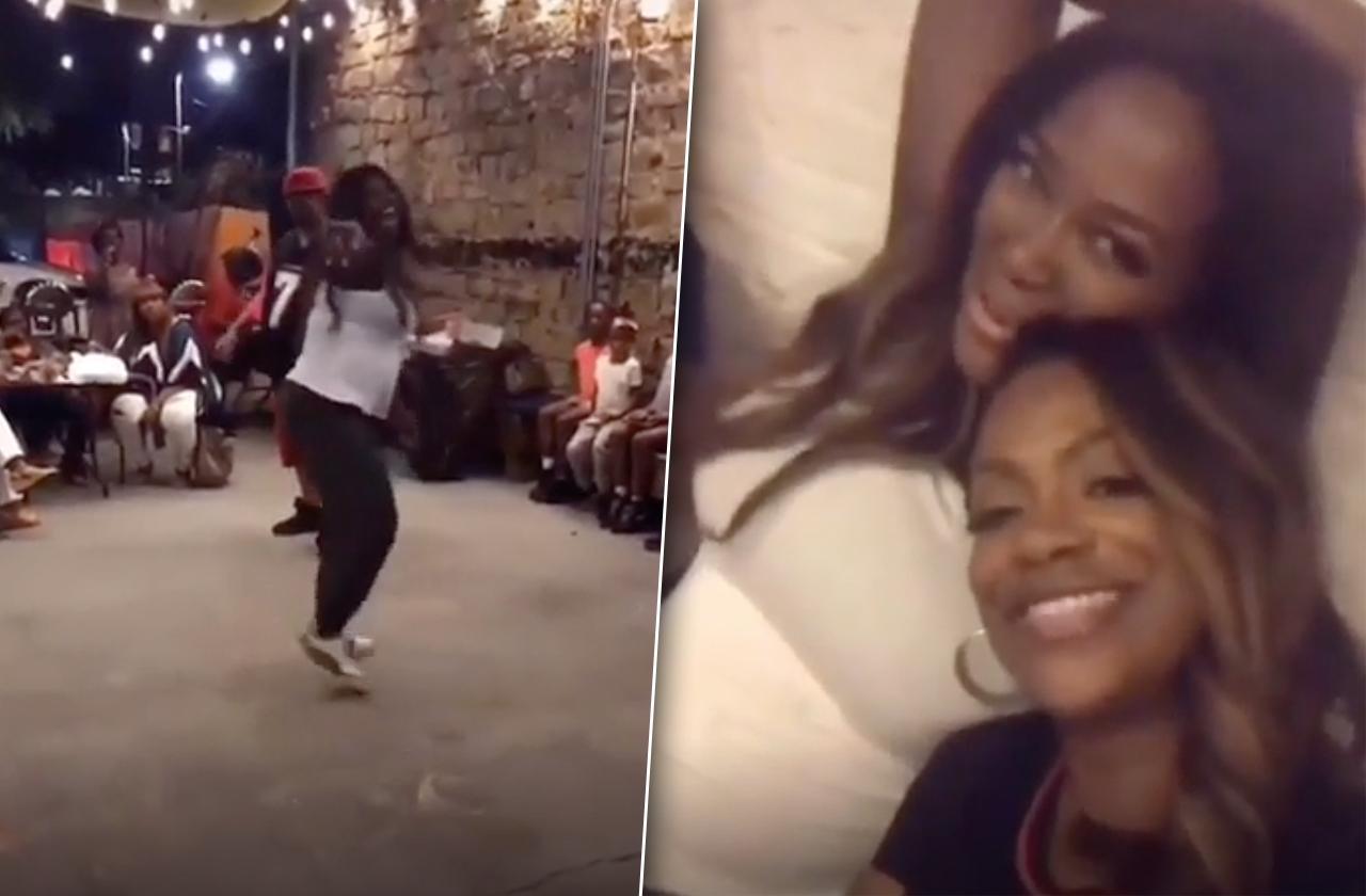 kenya moore dancing pregnant baby bump rhoa