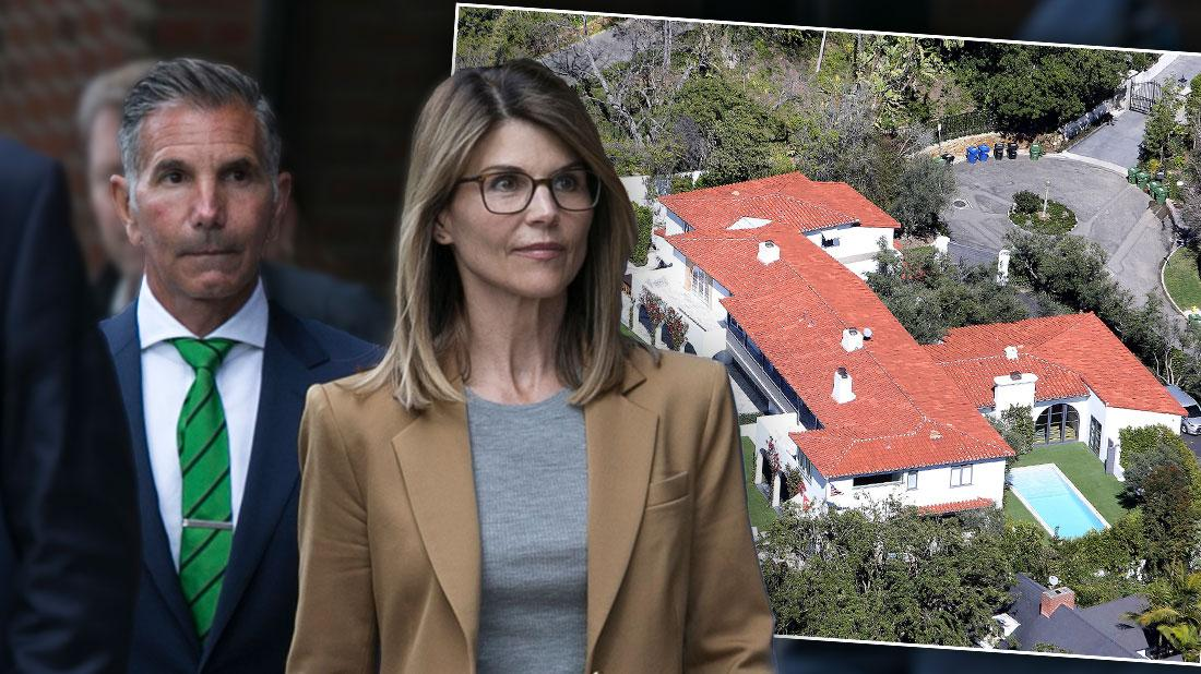 Lori Loughlin and her Husband Mossimo Giannulli, far left, Walking out of Court Selling Mansion Amid College Admissions Scandal