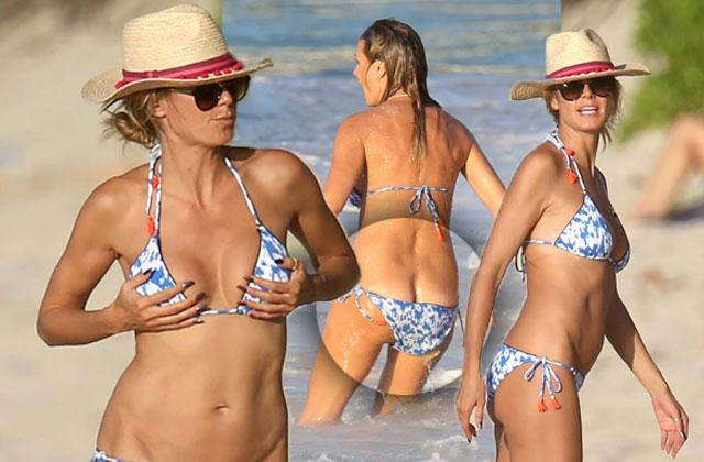 //heidi klum bikini nude butt crack beach pp