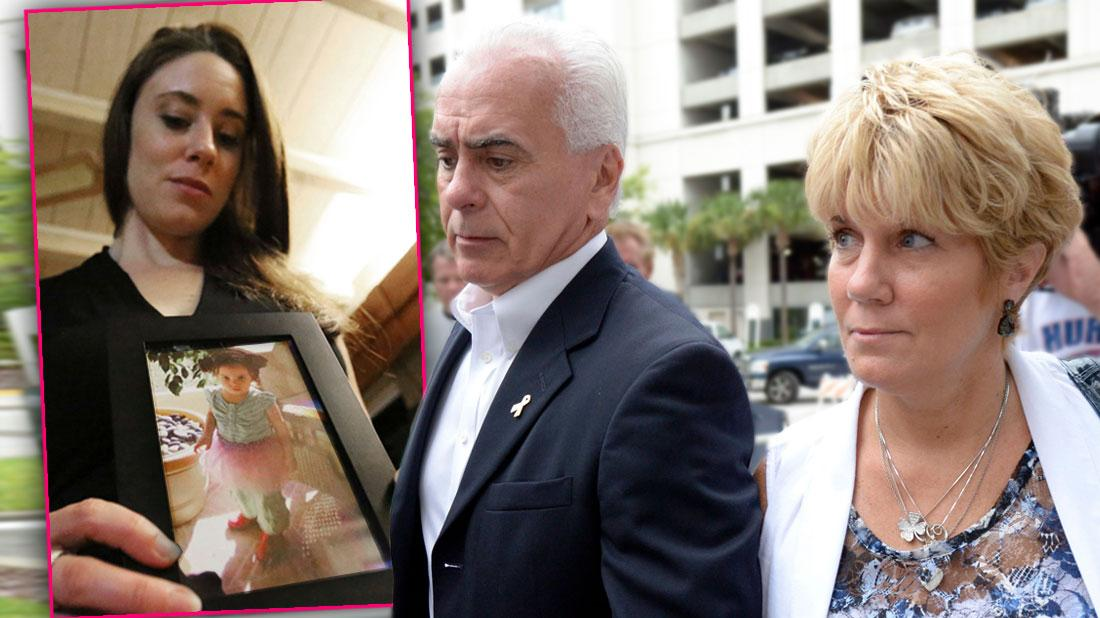Inset Casey Anthony holding Photo of Her Daughter Caylee Anthony, George and Cindy Anthony