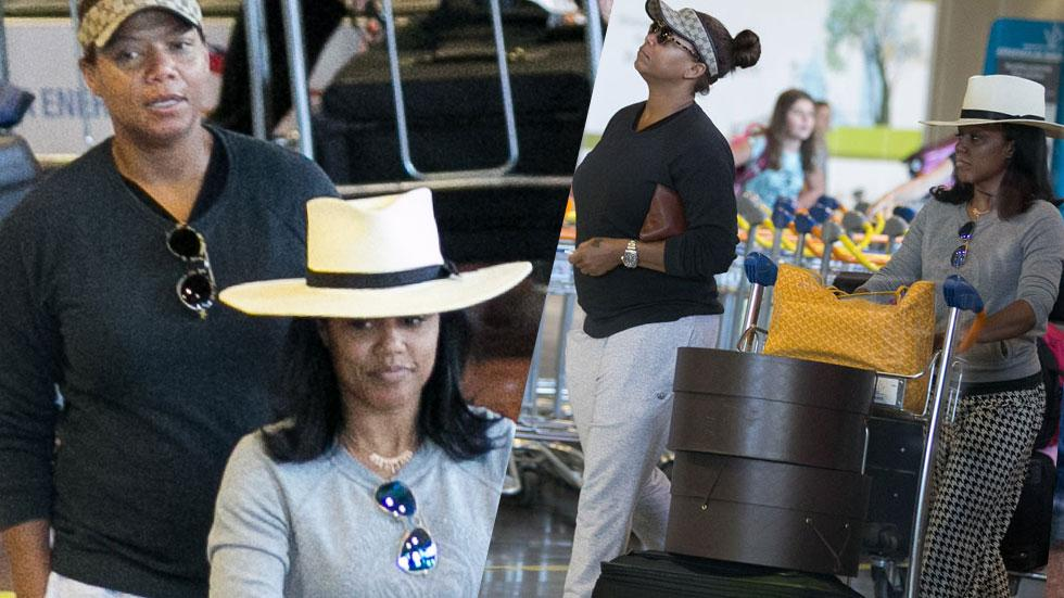 //queen latifah at airport with girlfriend