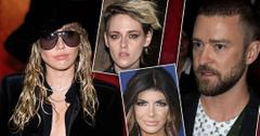 Insets of Miley Cyrus, Kristen Stewart, Teresa Giudice, Justin Timberlake -Most Shocking Celebrity Love Triangles Of 2019