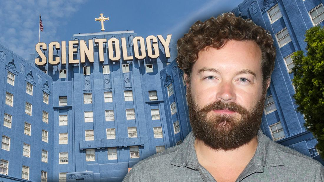 Danny Masterson Closeup WIth Inset Of Church of Scientology in Background