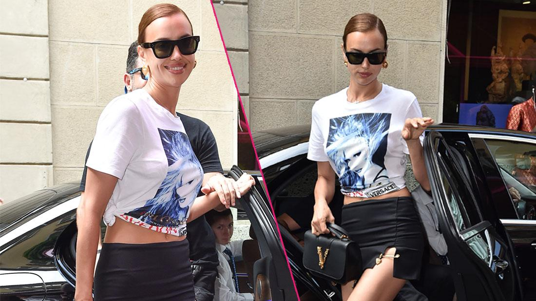 Irina Shayk wears a white shirt with silk screen print with the singer Blondie's face on it.