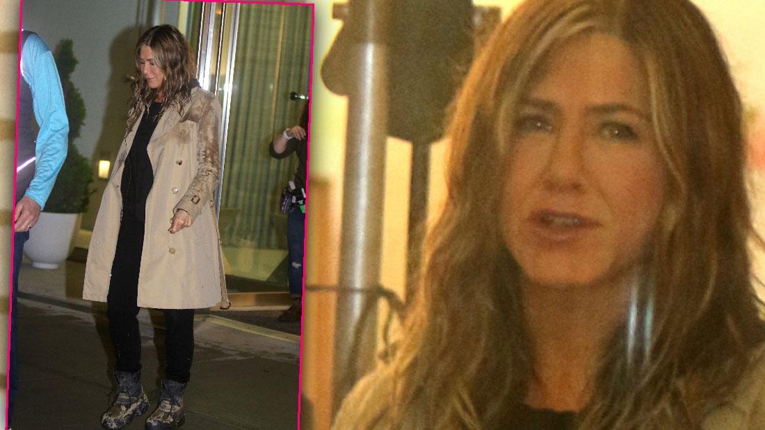 Jennifer Aniston Gets Wet While Filming Movie Scene