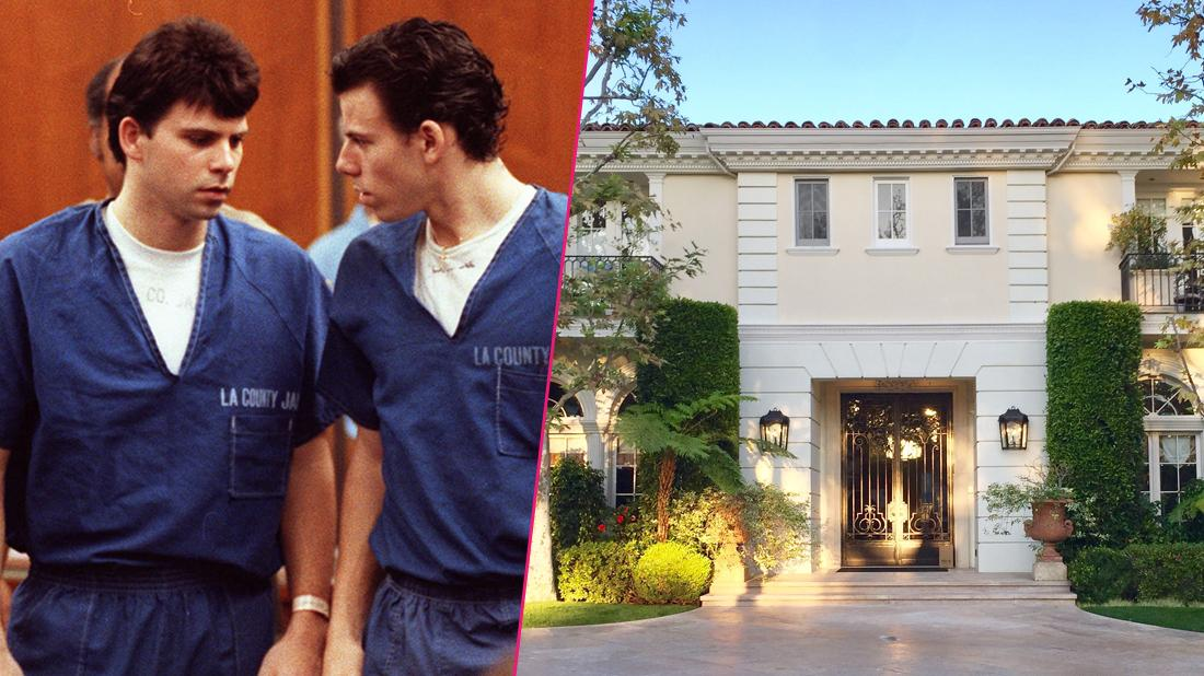 Left, Erik and Lyle Menendez wearing their blue prison garb as they find out that they are guilty of first degree murder and conspiracy. Right; The home where the Menendez brothers committed murder.