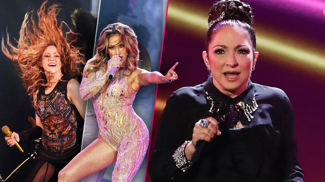 Insets of Shakira and Jennifer Lopez Performing, Gloria Estefan Performing
