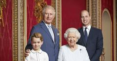 The Queen & Three Kings! Elizabeth, Princes Charles, William And George Pose For Family Photo