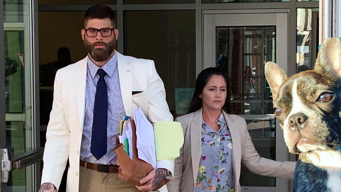 Jenelle evans and david eason leaving the court house, inset nugget bottom.
