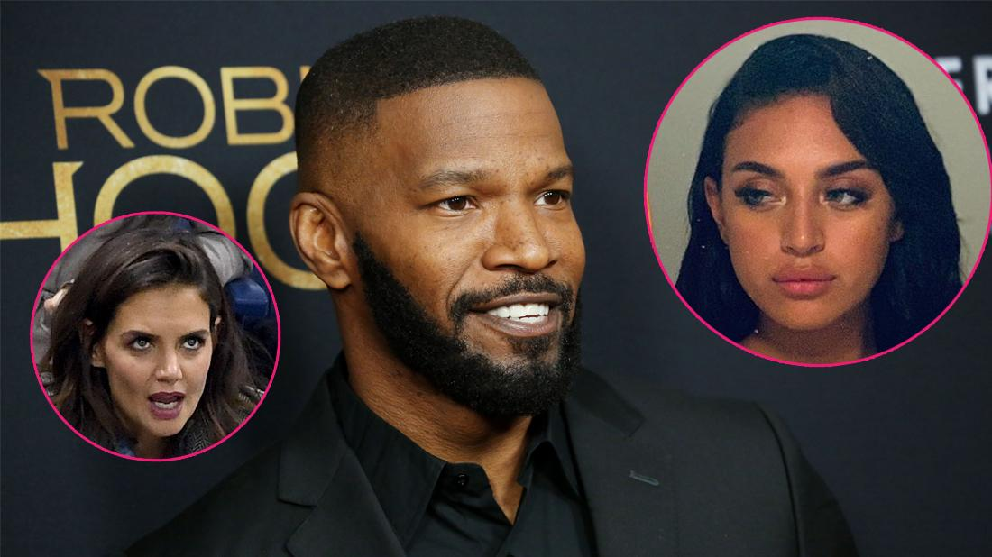 Main, Jamie Foxx smiles as he attends the Robin Hood premiere. Inset left, Katie Holmes. Inset right, Sela Vave.