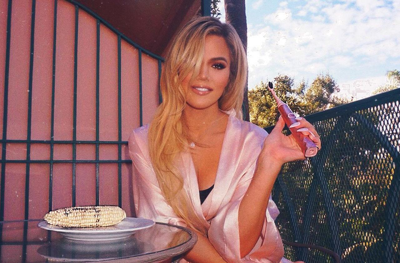 khloe kardashian burst oral care pink robe