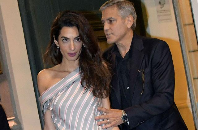 //george clooney amal clooney pregnant avoid danger twins anxious