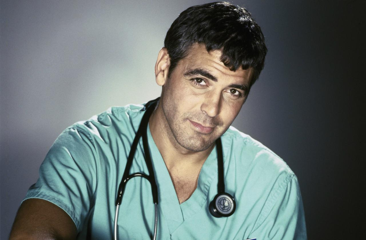 george clooney in scrubs headshot from ER