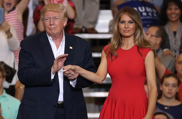 Melania Stuns Tight Red Dress Introduction Rally Donald Trump