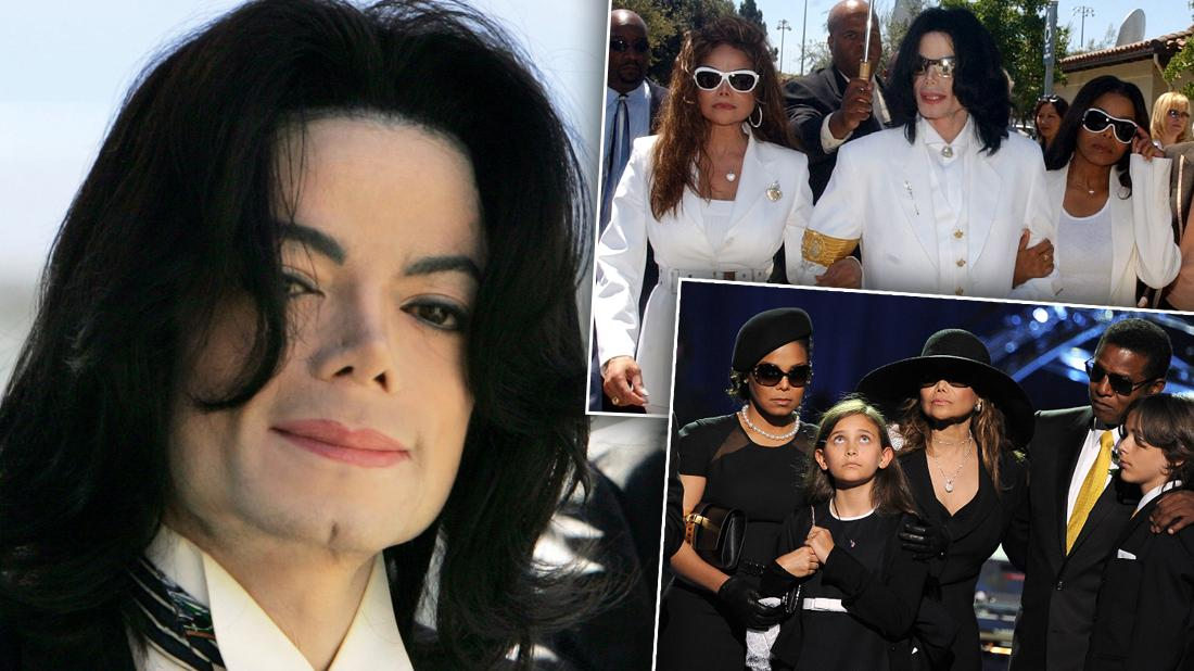 Michael Jackson Smiling With Insets Of Him Walking With Latoya and Janet Wearing All White and Family at His Memorial