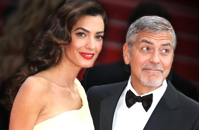 //amal clooney george clooney partying ban pp