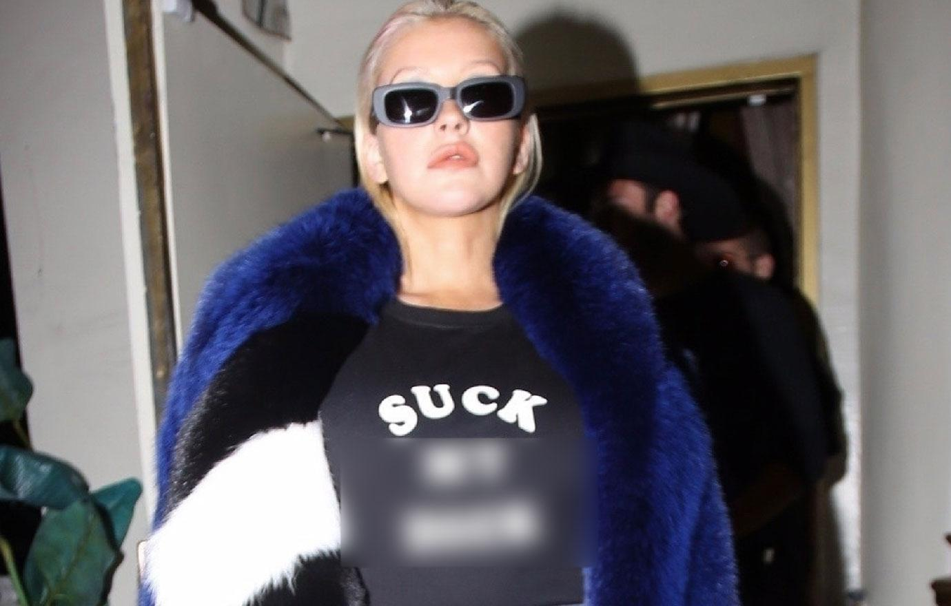 Christina Aguilera Wears Crude T-Shirt In West Hollywood