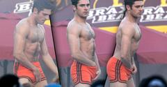 Zac Efron Shirtless With Hands Down Pants