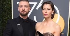 Justin Timberlake Black Tuxedo, Shirt, and Bow Tie With Jessica Biel Wearing Diamond Drop Earrings and Black Gown
