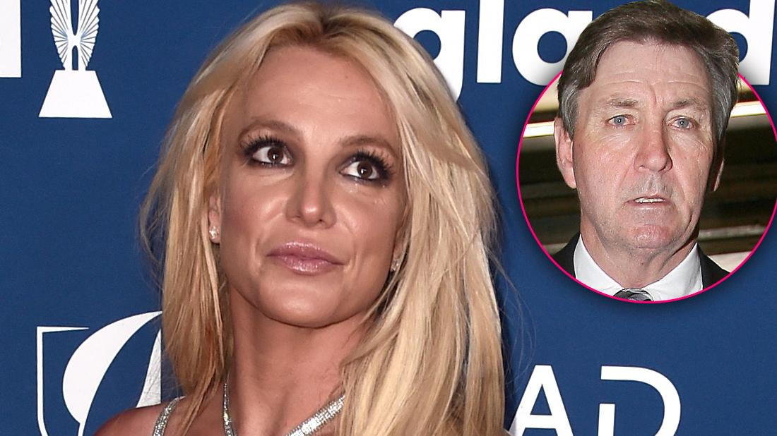Britney Spears Smiling Wearing Dress with Inset of Her Father Looking Serious