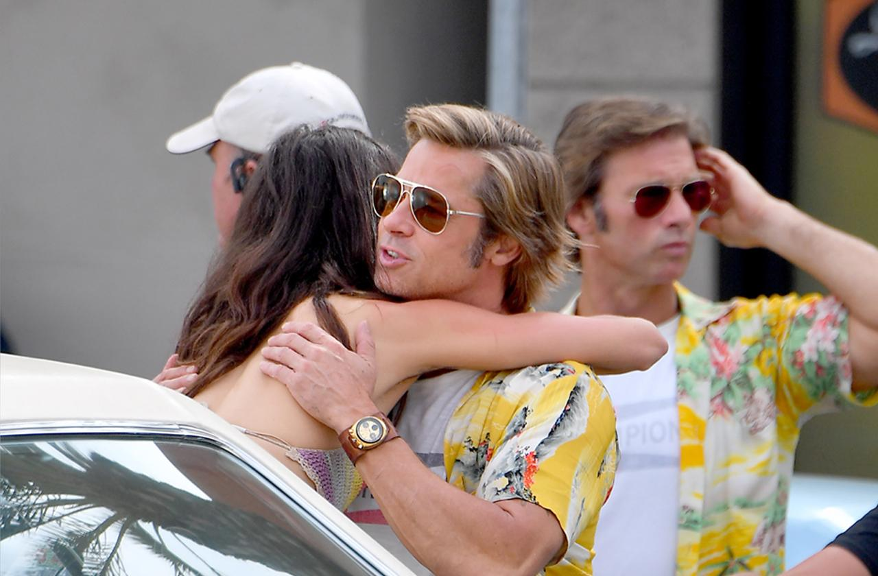 //brad pitt hugs female co star on once upon a time set pp