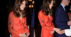 //kate middleton bhutan red dress skinny baby bump pp