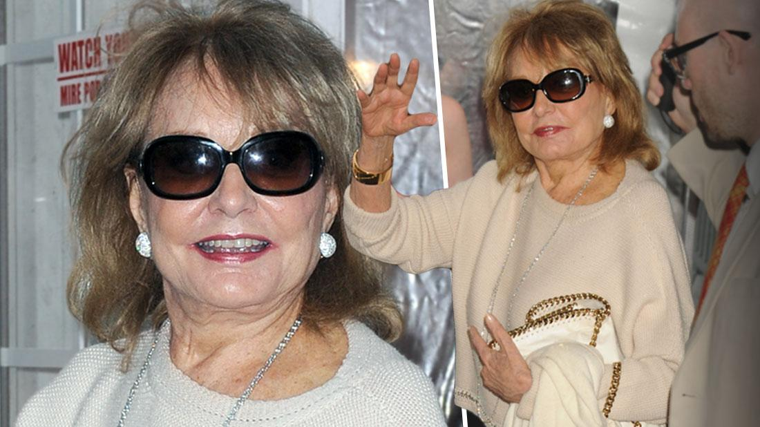 Smiling Barbara Walters Wearing Tan Scoopneck Sweater With Tan Slacks And Sunglasses at the 'Cafe Society' film premiere